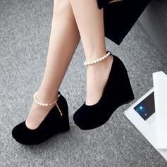 Naisten Mokkanahka Wedge heel Platform Kiilat jossa Ketju kengät