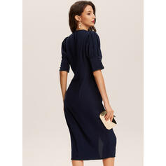 Solid Short Sleeves/Puff Sleeves Bodycon Pencil Party Midi Dresses