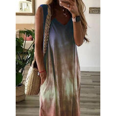 Tie Dye Sleeveless Shift Casual/Vacation Maxi Dresses