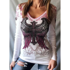 Wysadzana perełkami Nadruk Dekolt w kształcie litery V Długie rękawy T-shirty