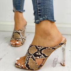 Dla kobiet PU Obcas Stiletto Sandały Otwarty Nosek Buta Kapcie Z Nadruk Zwierzęcy obuwie