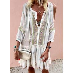 刺繍 コールドショルダースリーブ シフトドレス 膝上 カジュアル/ボーホー/休暇 チュニック ドレス