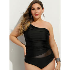 Solid Color Strap Elegant Plus Size One-piece Swimsuits