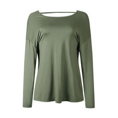 Solid V-neck Long Sleeves Casual Sexy Knit Blouses