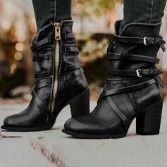 Kvinner PU Stor Hæl Pumps Støvler med Spenne Glidelås sko