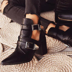 Women's PU Chunky Heel Pumps Closed Toe Boots With Buckle shoes