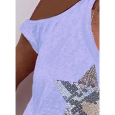 Εκτύπωση Ανοιχτός Ώμος Κοντά Μανίκια Καθημερινό Блузи