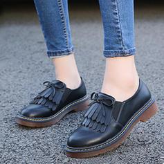 Femmes Similicuir Talon bottier Chaussures plates avec Bowknot Tassel chaussures