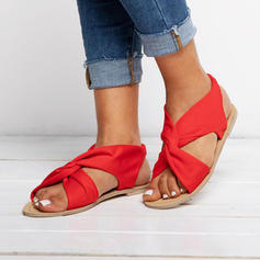 Women's Fabric Flat Heel Sandals With Others shoes