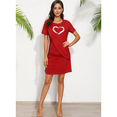 Print/Heart Short Sleeves Sheath Above Knee Casual T-shirt Dresses