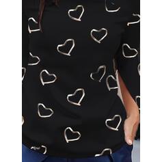 Estampado Coração Um Ombro Manga Comprida Casual Blusas