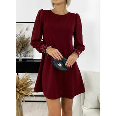 Solid/Beaded Long Sleeves/Puff Sleeves Shift Above Knee Little Black/Elegant Tunic Dresses