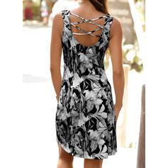 印刷/フローラル ノースリーブ シースドレス 膝丈 カジュアル/休暇 タンク ドレス