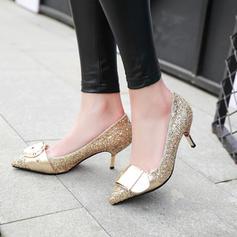 Mulheres Espumante Glitter Salto agulha Bombas Fechados com Espumante Glitter Fivela sapatos