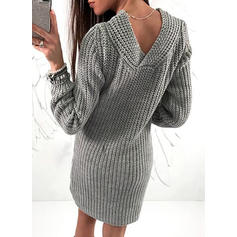 Solid/Chunky knit Long Sleeves Sheath Knee Length Casual Dresses