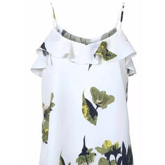 Print Floral Spaghetti Strap Short Sleeves Casual Blouses