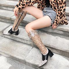 Vrouwen Kunstleer Chunky Heel Knie Lengte Laarzen met Stitching Lace Rits Gesplitste Stof schoenen