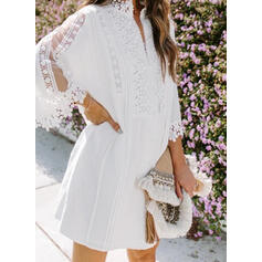 Lace/Solid Long Sleeves/Flare Sleeves Shift Above Knee Casual Dresses