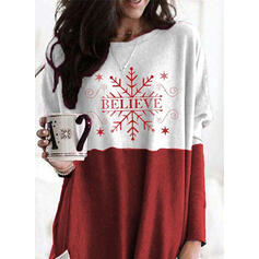 Drucken Figur Taschen Rundhals Lange Ärmel Weihnachts-Sweatshirt