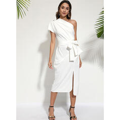 Solid Short Sleeves Bodycon Sexy/Party Midi Dresses