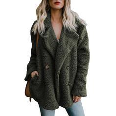 Woolen Long Sleeves Plain Faux Fur Coats