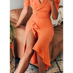Solid Short Sleeves/Puff Sleeves Sheath Casual/Elegant Midi Dresses