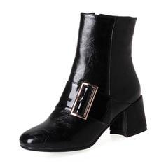 Naisten PU Chunky heel Avokkaat Kengät Nilkkurit jossa Solki Vetoketju kengät