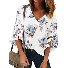 Print Floral V-Neck 3/4 Sleeves Casual T-shirt
