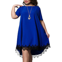 Lace Short Sleeves Shift Knee Length Dresses