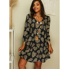 Leopard/Heart Long Sleeves Shift Above Knee Casual Tunic Dresses