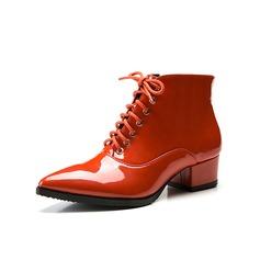 Femmes Similicuir Talon bottier Plateforme Bottines Martin bottes avec Lanière tressé chaussures