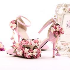 Frauen Funkelnde Glitzer Stöckel Absatz Absatzschuhe Sandalen mit Feder Strass Kristallabsatz
