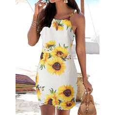 Sunflower Print Sleeveless Sheath Above Knee Casual/Vacation Slip Dresses