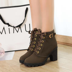 Women's PU Chunky Heel Pumps Closed Toe Boots With Buckle Lace-up shoes