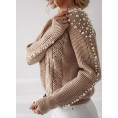 Solid Beaded Stand Collar Casual Sweaters