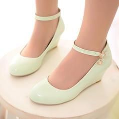 Femmes Cuir verni Talon compensé Compensée avec Boucle chaussures