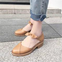 Kvinder PU Stor Hæl sandaler Lukket Tå med Bowknot sko