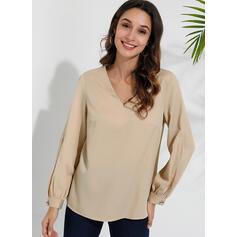 Solid V-Neck Long Sleeves Casual Elegant Blouses