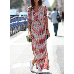 Print Long Sleeves Sheath Casual Maxi Dresses