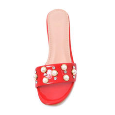 Women's Leatherette Patent Leather Stiletto Heel Sandals Slippers With Rhinestone Rivet shoes