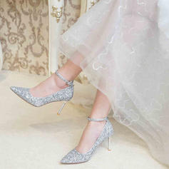 Women's Sparkling Glitter Stiletto Heel Closed Toe Pumps With Sparkling Glitter