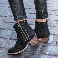 Női PU Chunky sarok Magassarkú Csizma Mid-Calf Csizma -Val Szegecs Cipzár cipő