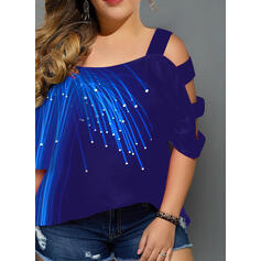 Print Cold Shoulder 3/4 Mouwen Casual Grote maten Overhemd