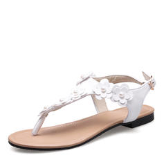 Women's Leatherette Flat Heel Sandals Flats Peep Toe Slingbacks With Imitation Pearl Buckle Flower shoes
