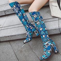Donna PU Tacco spesso Stivali al ginocchio con Fibbia Animale Stampa Cerniera scarpe