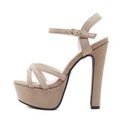Women's Suede Stiletto Heel Sandals Pumps Platform Peep Toe With Buckle shoes