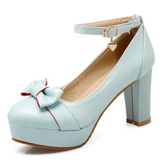 Women's Leatherette Stiletto Heel Pumps Platform Closed Toe With Bowknot shoes