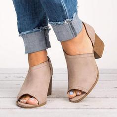 Women's PU Chunky Heel Pumps Peep Toe Ankle Boots shoes