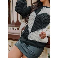 Nadruk Blok Koloru Serce Okrągły dekolt Nieformalny Swetry