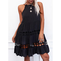 Solid Lace Sleeveless Shift Above Knee Little Black/Casual Slip Dresses